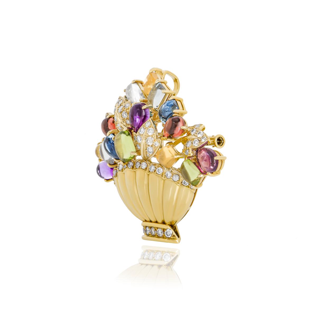 Yellow Gold Multi-Gem and Diamond Pendant/Brooch
